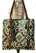 Raviani Tote Bag In Brown & Turquoise Southwestern Embossed Cowhide Leather