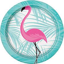 8 x Rosa Flamingo piatti di carta Hawaiano Hula Spiaggia Festa Tropicale PIASTRE 18cm