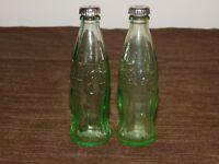 "VINTAGE KITCHEN 4 3/8"" HIGH COCA COLA COKE GLASS  SALT & PEPPER SHAKERS"