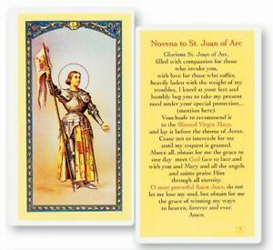 Joan of Arc, Fratelli Bonella Laminated Prayer Card, 25 Pack From Italy