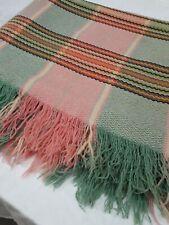 """A Vintage Fringed Welsh wool blanket 94.5"""" x 72"""""""