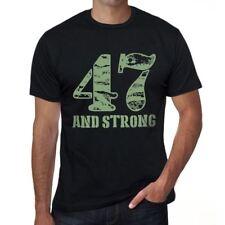 47 And Strong Hombre Camiseta Negro Regalo De Cumpleaños 00475