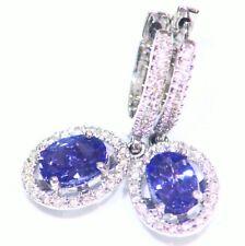 2.20CT 14K Gold Natural Tanzanite Diamond Vintage AAAA Engagement Drop Earrings