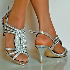 NEW Ladies Party Sparkly Diamante Ankle Strap Low Kitten Heel Sandals Plus Sizes