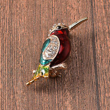 Delicate Rhinestone Bird Animal Enamel Brooch Alloy Lapel Pin Women Jewelry Gift