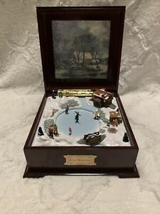 Gold Label Collection Winter Wonderland People Skating Moving Music Box