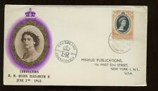 Nyasaland Qe Coronation First Day Cover 1953 Light Cancel to Nyc