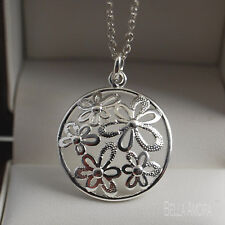"""925 Silver Round Flower Petal Pendant with 18"""" Necklace Chain - UK New -80"""