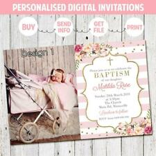 'YOU PRINT' BAPTISM CHRISTENING GIRLS INVITE INVITATION PARTY PHOTO FLORAL PINK