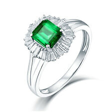 Real 14K White Gold Colombia Emerald & Baggutte Diamond Wedding Vintage Ring