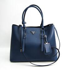 Prada Saffiano BN2820 Men,Women Leather Shoulder Bag,Tote Bag Dark Blue BF514494
