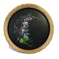 Vtg NASHCO TRAY Floral Hand Painted Round Toleware Metal Lace Border Serving 15""