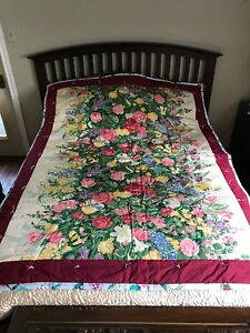 QUILT Handmade Floral Print Cotton 77 x 57 inch 2 Pattern Reversible NEW