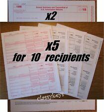 2018 IRS Tax Form 1099-MISC Laser 10 recipients+(2)1096 #TF6103 4-pt -->> NO Env