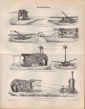 Lithografie 1890: DRESCHMASCHINEN.Göpel-Dampf-Hand-Stiften-Dresch-Maschine