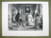 VICTORIAN ROMANCE Christmas Time Mistletoe Kiss - 120+ Years Old Print Engraving