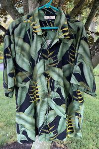 Tommy Bahama Mens XL 100% Silk Floral Palm Hawaiian Print Shirt Button Front