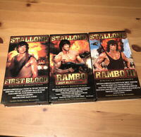 Sylvester Stallone Rambo First Blood 1 & 2 & VHS Movie Lot - Like New Trilogy