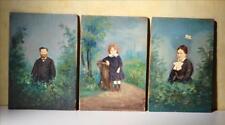 Portrait miniature enfant L DUGARDIN famille XIXe Huile / bois & photo Tableau