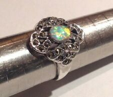 Antique Art Deco style Fire Opal Marcasite openwork Ring Sterling Silver size P