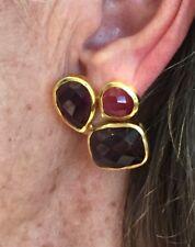 Julie Vos Trio Faceted Amethyst & Rose Quartz Clip Earrings NWT Was $145Now $75!