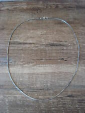 "Necklace 22"" Long x 1mm Sterling Silver Gunmetal Box Chain"