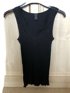 NEW Banana Republic Silk Mix Black Vest Top Lace Trim Small with Stretch