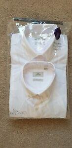 NEXT Men's white slim fit button-down collar long sleeve shirts single cuff 15.5