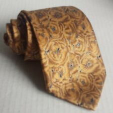 """Brioni Men Silk Dress Tie 3.5"""" wide 58"""" long Gold with Floral Print ITALY"""
