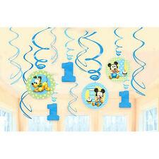 Baby Mickey 1st Birthday Hanging Swirls First Baby Boy Party Decorations Supply
