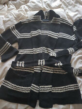 Elegant Ralph Lauren Ladies Shawl Cardigan, Linnen/Silk Mix - large Black/White