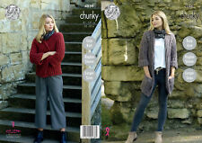 King Cole Ladies Chunky Knitting Pattern Easy Knit Short or Long Jacket 4859