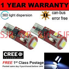 2x W5W T10 501 Errore Canbus libero BIANCO 5 SMD LED Luce Laterale Lampadine Bright sl104401