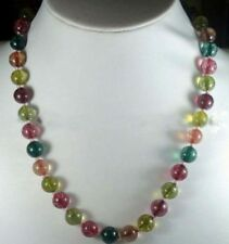 """10mm Charming Multicolor Tourmaline Round Beads Necklace 18"""" PN630"""