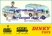 Dinky Toys 987 988 ABC TV Van & Control Room Poster Leaflet Sign Advert A4 Size