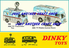 Dinky Toys 987 988 ABC TV Van & Control Room A4 size Poster Leaflet Sign Advert