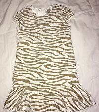 Gymboree Right Meow zebra dress EUC 6 tan white