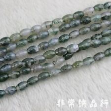 """6x9mm Moss Agate Beads Semi Precious Loose Gemstone Beads for Jewelry Making 15"""""""