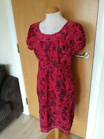 Ladies Dress Size 10 MANTARAY Red Floral Smart Casual Day Party