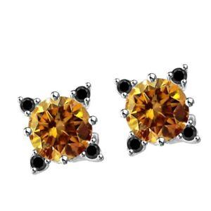 1.CT Round Cut Brown & Black VVS1 Diamond Stud Earrings 18K Gold Over