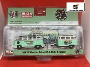 M2 Machines 1959 VW MICROBUS DELUXE USA MODEL AND TRAILER MIJO EXCLUSIVE 1:64 Sc