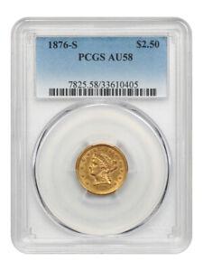 1876-S $2 1/2 PCGS AU58 - Low Mintage S-Mint - 2.50 Liberty Gold Coin