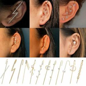 Bohemian Wedding Ear Wrap Crawler Crystal Cuff Ear Hook Woman Earrings Jewellery