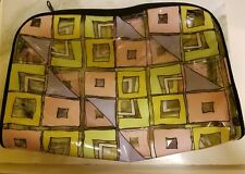 """Large clear plastic cosmetic bag, 9 1/2"""" long. Great geometric design. Good cond"""