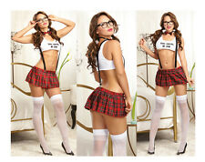 NEW WOMENS LADIES NAUGHTY SCHOOL GIRL HEN DOO FANCY DRESS PARTY OUTFIT LINGERIE