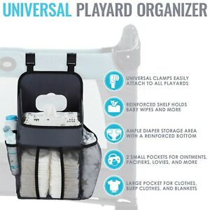 L.A. Baby Universal Playard Diaper Caddy and Nursery Organizer - Gray