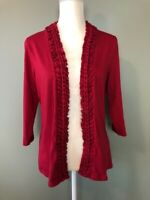 Coldwater Creek Womens Open Cardigan Top Size M Pink Braided Trim 3/4 Sleeve