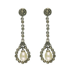 Esse Marcasite Sterling Silver Freshwater Pearl and Marcasite Drop Earrings