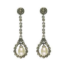 Esse Marcasite Sterling Silver Topaz PEAR Drop Fancy Leverback Party Earrings