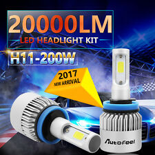 2x 200W 20000LM CREE LED HEADLIGHT BULBS KIT H11 H8 H9 6000K HIGH POWER LOW BEAM